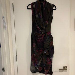 All Saints purple print 100% silk wrap dress 6